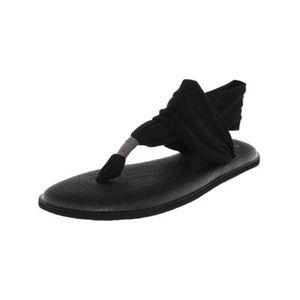 """Sanuk Black """"Yoga Sling Flat"""" Sandals"""